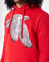 Red hoodie with Cenmar Falcon