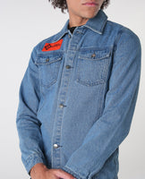 House of Cenmar denim jacket with orange rubber logo