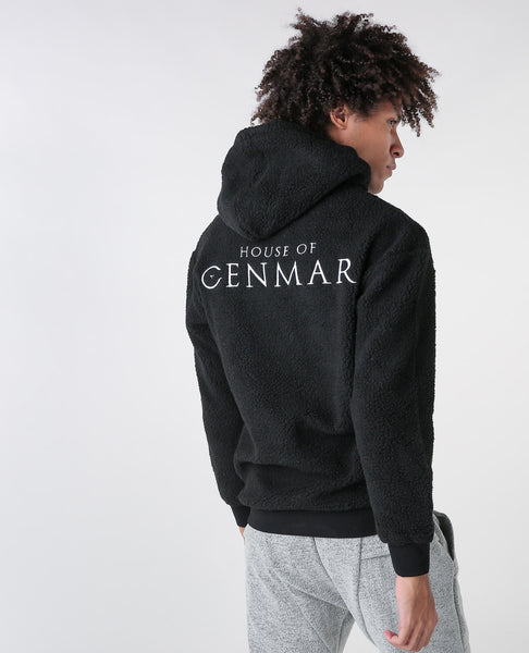 Black hoodie with House of Cenmar