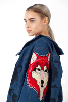 HOC 008 (women's)Denim jacket with Cenmar Wolf embroidery on the back. Women's