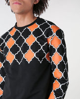 House of Cenmar orange,black and white sweater
