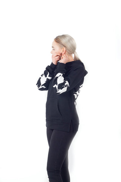 Black Cenmar floral Hoodie for Women