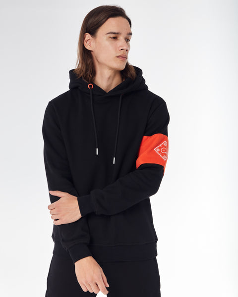 Black hoodie with Orange Cenmar patch