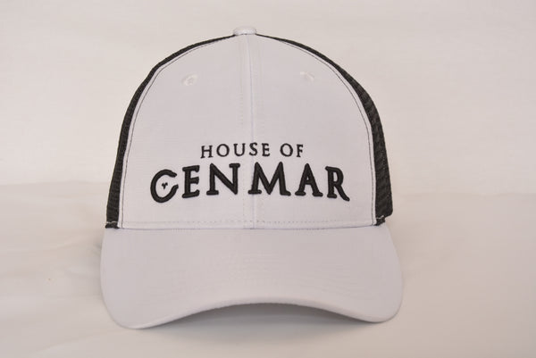 White and black Hat with House of Cenmar