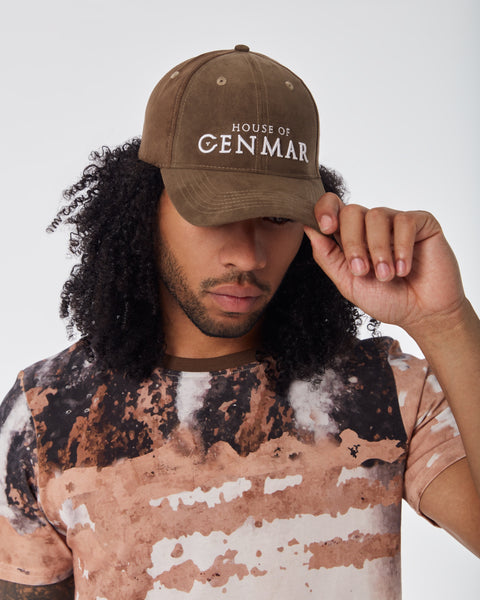 Tie back Hat with House of Cenmar. Double Cargo Green with white