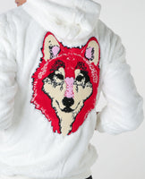 White hoodie with Cenmar wolf embroidered