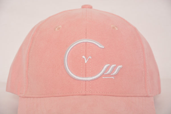 Tie back hat with House of Cenmar logo. Double Pink with white