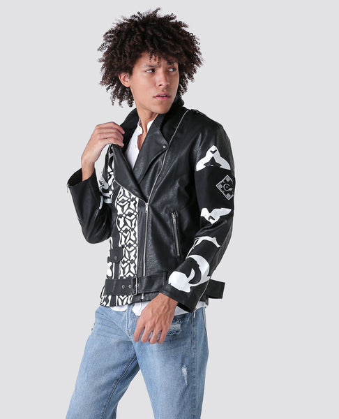 Black Biker leather jacket with pattern