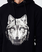 Black hoodie with Cenmar Wolf