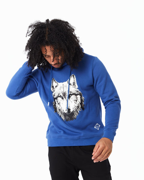 Blue hoodie with cenmar wolf