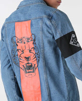 House of Cenmar cheetah denim jacket with Cenmar patch