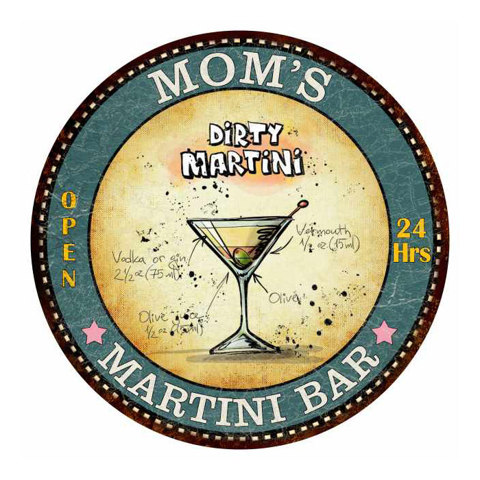 "MOM'S Martini Bar 14"" Round Metal Sign Kitchen Wall Décor 100140001002"