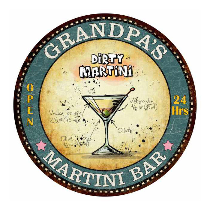 "GRANDPA'S Martini Bar 14"" Round Metal Sign Kitchen Wall Décor 100140001004"