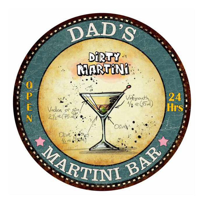"DAD'S Martini Bar 14"" Round Metal Sign Kitchen Wall Décor 100140001208"