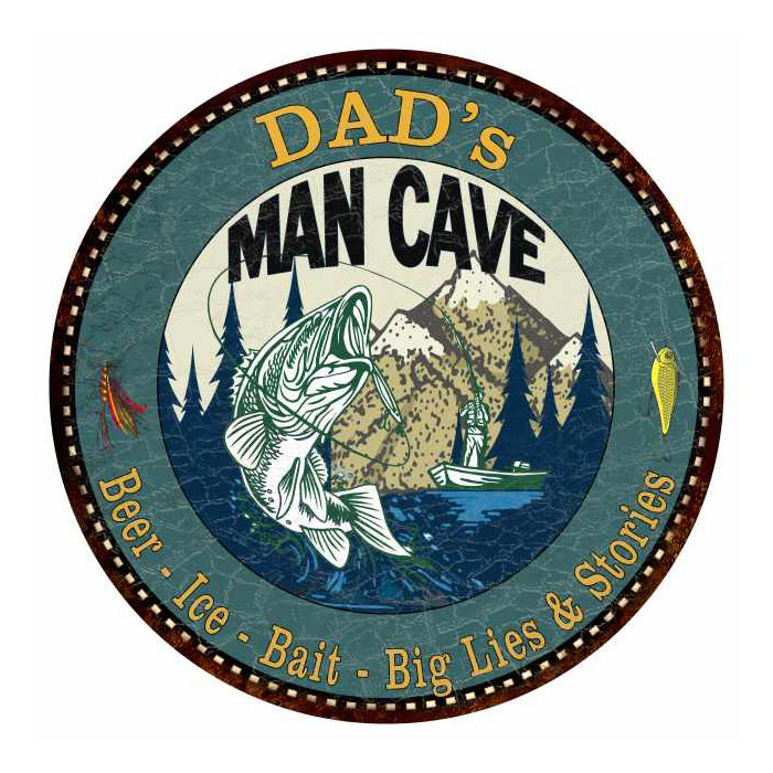 "DAD's Man Cave Fishing 14"" Round Metal Sign Garage Bar Décor 100140004501"