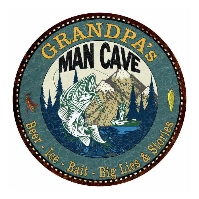 "GRANDPA's Man Cave Fishing 14"" Round Metal Sign Garage Bar Décor 100140004502"