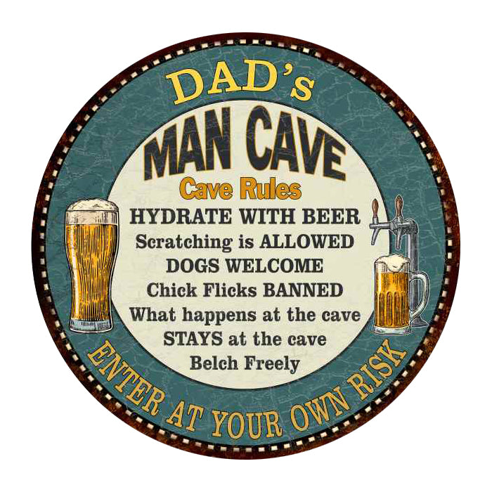 "DAD's Man Cave Rules 14"" Round Metal Sign Garage Wall Decor 100140009501"
