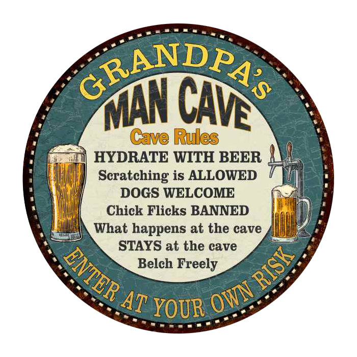 "GRANDPA's Man Cave Rules 14"" Round Metal Sign Garage Wall Decor 100140009502"