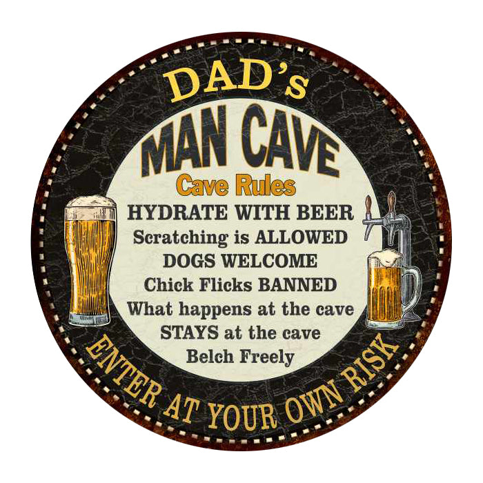 "DAD's Man Cave Rules 14"" Round Metal Sign Garage Wall Decor 100140010501"