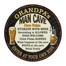 "GRANDPA's Man Cave Rules 14"" Round Metal Sign Garage Wall Decor 100140010502"