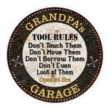 "GRANDPA's Garage Rules 14"" Round Metal Sign Garage Bar Wall Décor 100140013502"