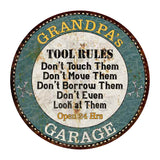 "GRANDPA's Garage Rules 14"" Round Metal Sign Garage Bar Wall Décor 100140014502"