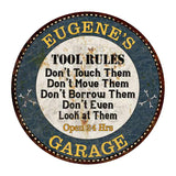 "EUGENE'S Garage Rules 14"" Round Metal Sign Garage Wall Décor 100140015281"