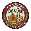 "GRANDPA's Bar and Grill 14"" Round Metal Sign Kitchen Wall Decor 100140020502"