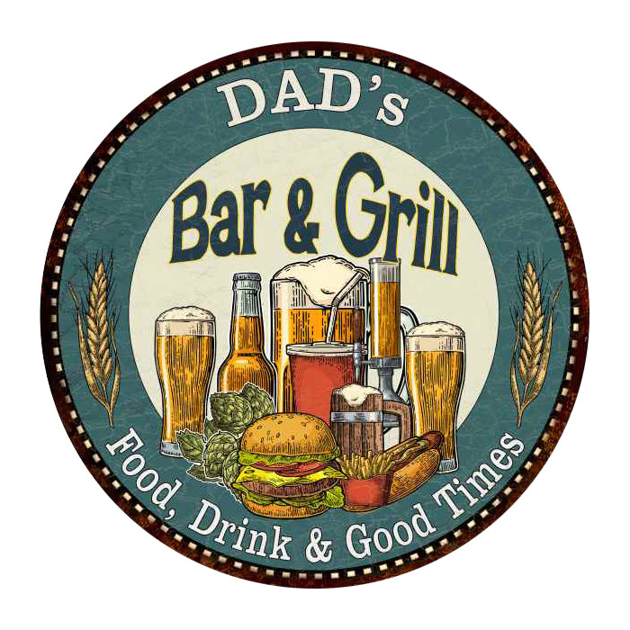 "DAD's Bar and Grill 14"" Round Metal Sign Kitchen Wall Decor 100140023501"
