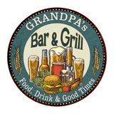 "GRANDPA's Bar and Grill 14"" Round Metal Sign Kitchen Wall Decor 100140023502"