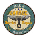 "DAD'S Garage 14"" Round Metal Sign Man Cave Home Wall Décor 100140027002"
