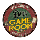 "Dad's Game Room 14"" Round Metal Sign Bar Kitchen Red Wall Décor 100140032032"