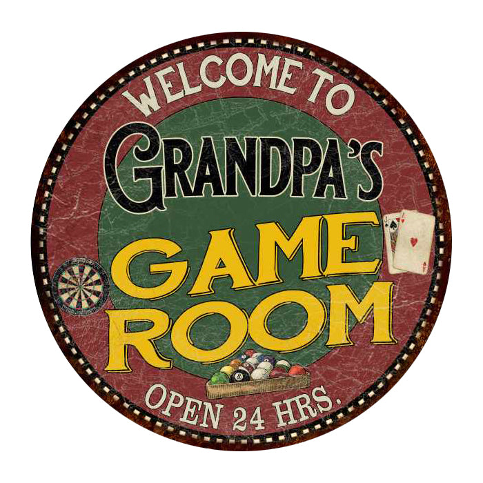 "Grandpa's Game Room 14"" Round Metal Sign Bar Kitchen Red Wall Décor 100140032459"