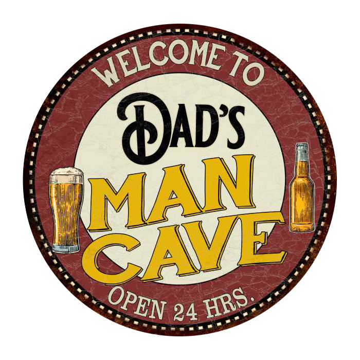 "Dad's Man Cave 14"" Round Metal Sign Kitchen Bar Wall Décor 100140035032"