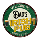 "Dad's Irish Pub 14"" Round Metal Sign Kitchen Bar Wall Décor 100140036032"