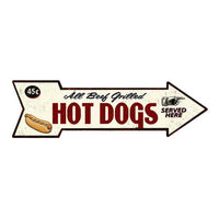 All Beef Grilled Hot Dogs Rt Arrow Vintage Looking Metal Sign 5x17 205170002003