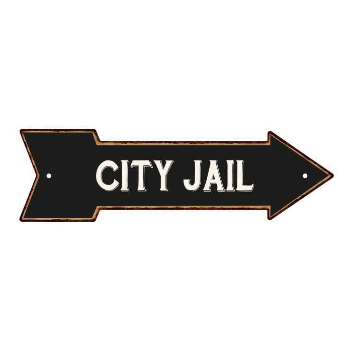 City Jail Rt Arrow Vintage Looking Metal Sign Distressed 5x17 205170003021