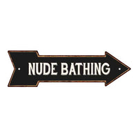 Nude Bathing Rt Arrow Vintage Looking Metal Sign Distressed 5x17 205170003023