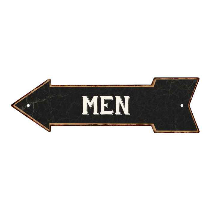 Men Left Arrow Vintage Looking Metal Sign 5x17 205170004007