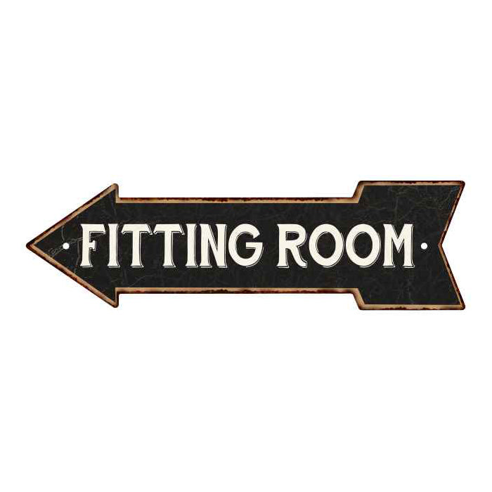 Fitting Room Left Arrow Vintage Looking Metal Sign 5x17 205170004008