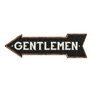 Gentlemen Left Arrow Vintage Looking Metal Sign 5x17 205170004010