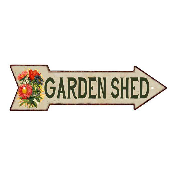 Garden Shed Metal Sign 5x17 Arrow Garden Flowers Gift Shed 205170008001