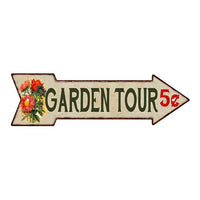 Garden Tour Metal Sign 5x17 Arrow Garden Flowers Gift Shed 205170008003