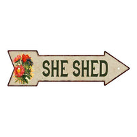 She Shed Metal Sign 5x17 Arrow Garden Flowers Gift Shed 205170008004