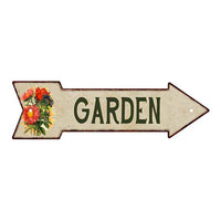 GARDEN Metal Sign 5x17 Arrow Garden Flowers Gift Shed 205170008008
