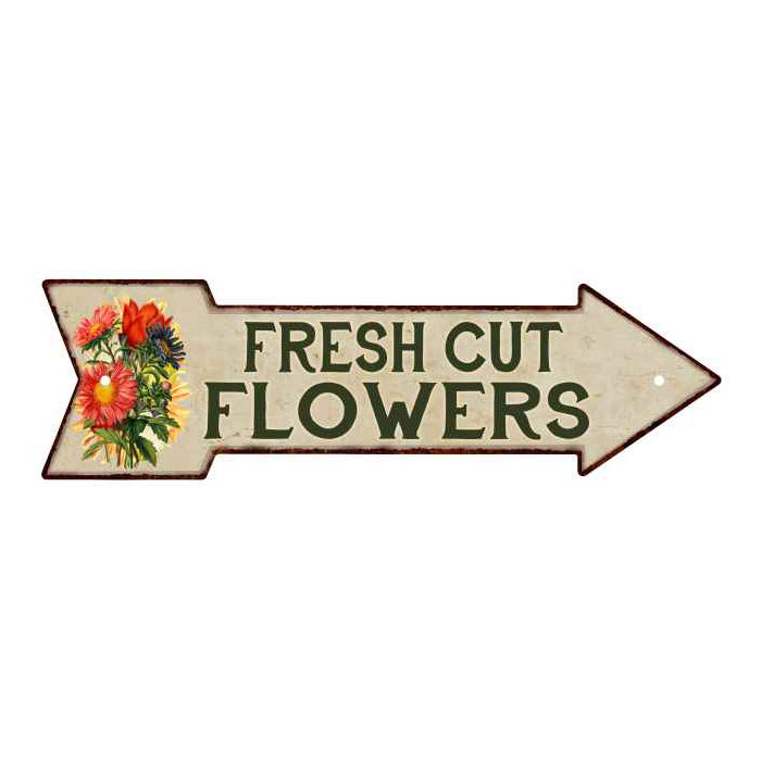 Fresh Cut Flowers Metal Sign 5x17 Arrow Garden Flowers Gift Shed 205170008013