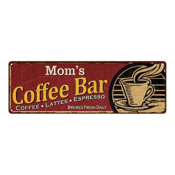 Mom's Coffee Bar Red Personalized Sign Kitchen Gift 6x18 106180006202