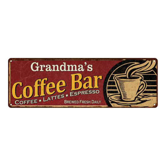 Grandma's Coffee Bar Red Personalized Sign Kitchen Gift 6x18 106180006203