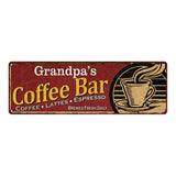 Grandpa's Coffee Bar Red Personalized Sign Kitchen Gift 6x18 106180006205