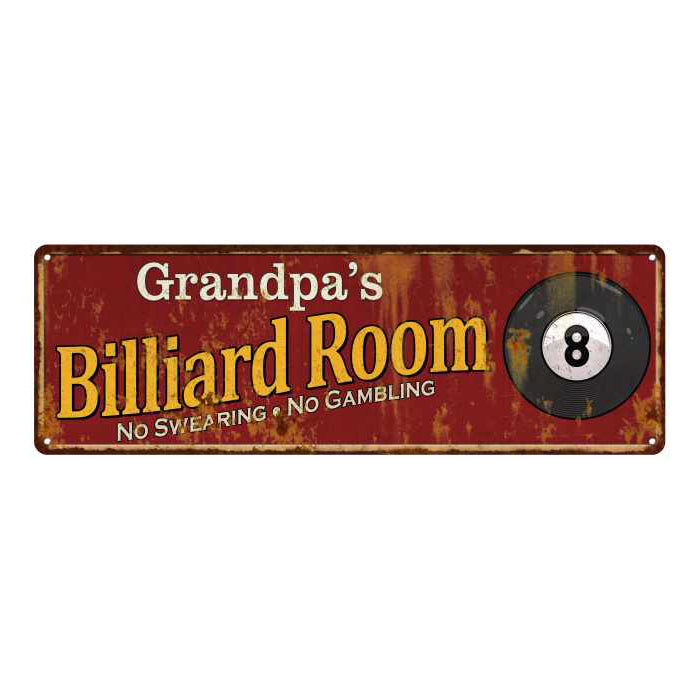 Grandpa's Billiard Room Red Personalized Sign Game Room Pool 6x18 106180008459